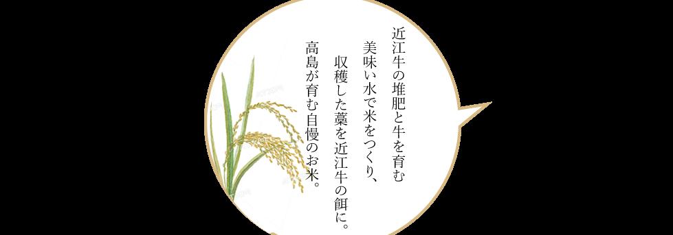 近江牛の堆肥と牛を育む美味い水で米をつくり、収穫した藁を近江牛の餌に。高島が育む自慢のお米。