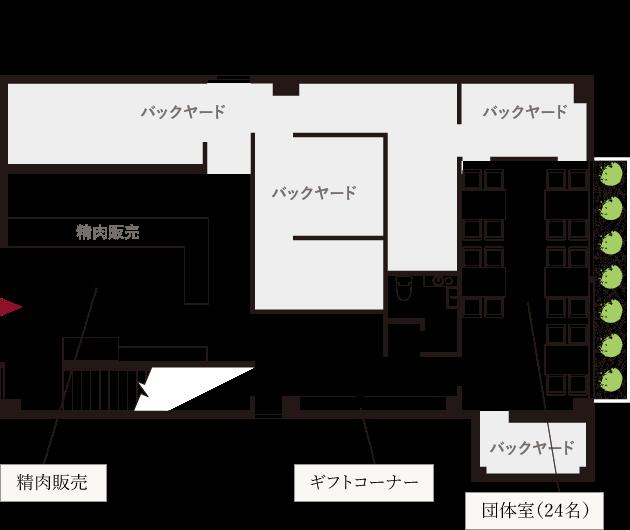 農家レストランだいきち 大津堅田店 1F 店頭販売/団体室(フロア図)